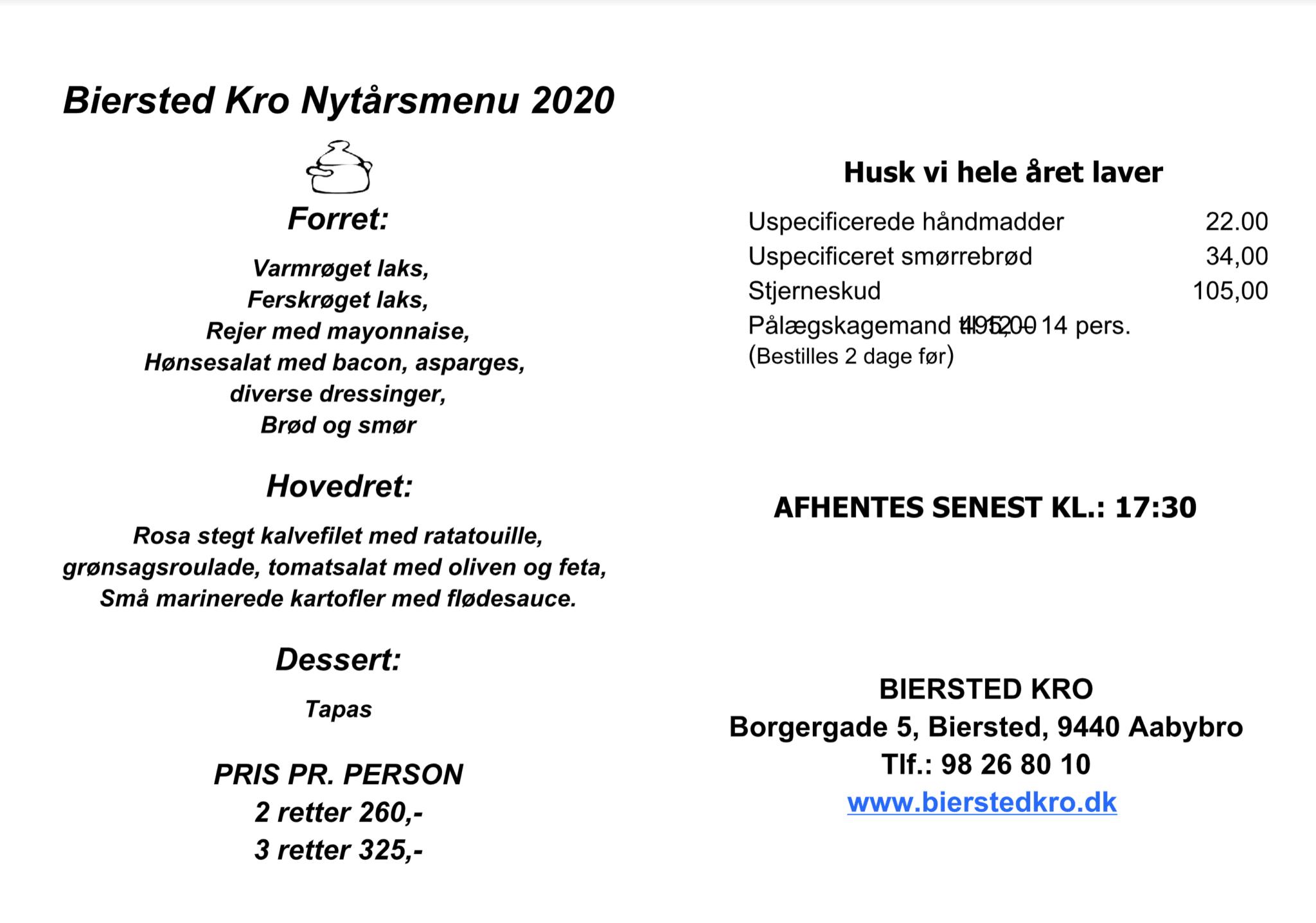 Nytårsmenu Aalborg og aabybro
